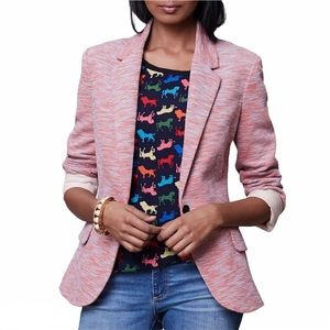 Anthropologie Cartonnier Pink Tonal Knit Blazer M